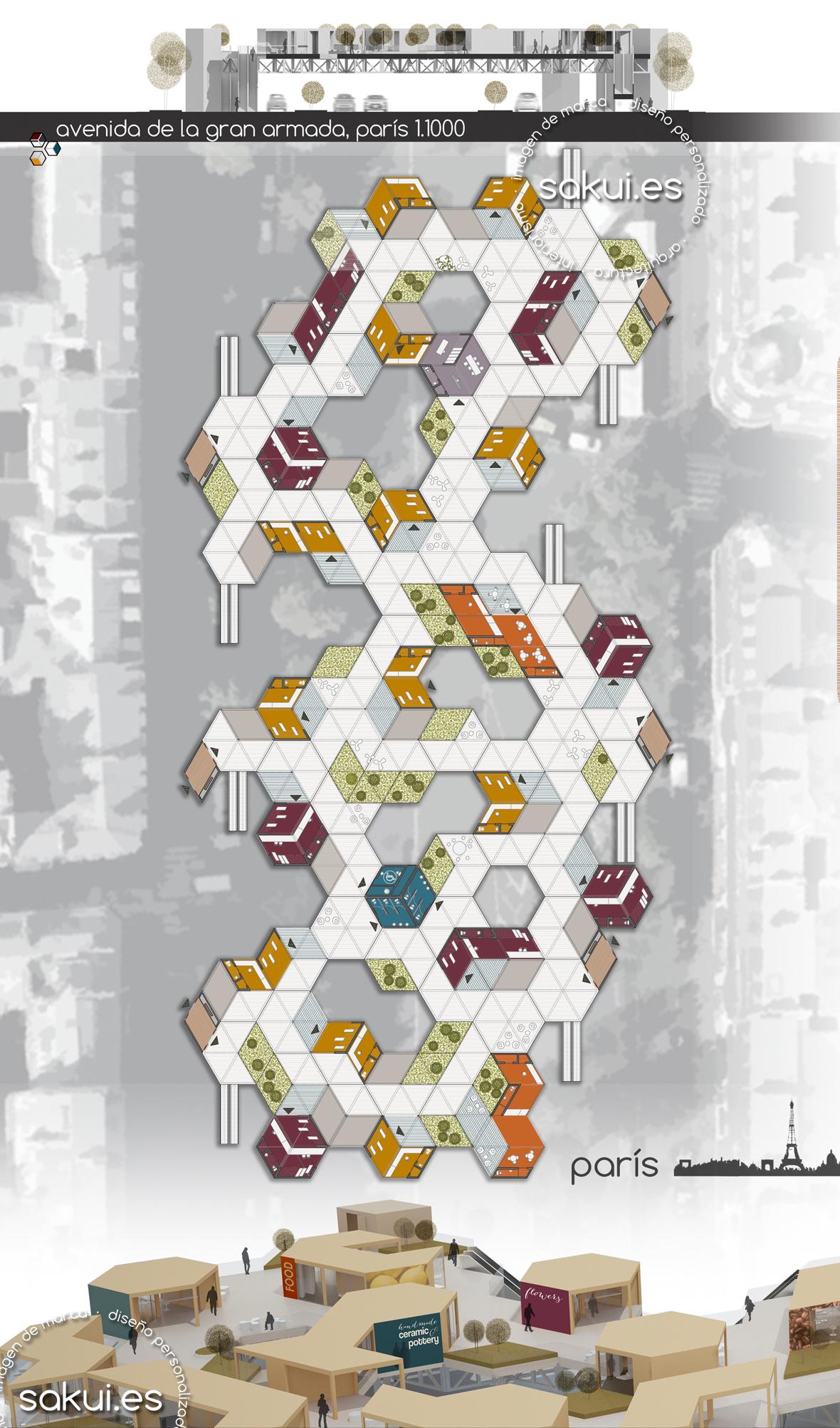 Planta y vista de la propuesta en París.
